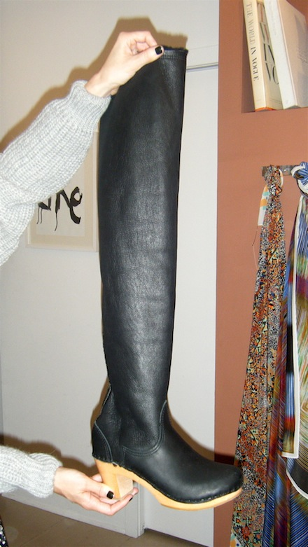 Thigh high clog boot